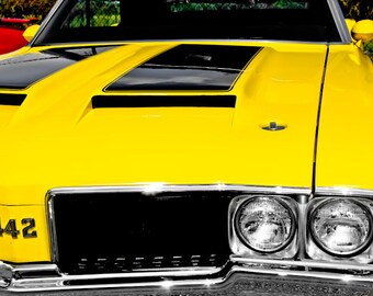 1970 Oldsmobile 442 Front End Car Photography, Automotive, Auto Dealer, Muscle, Sports Car, Mechanic, Boys Room, Garage, Dealership Art