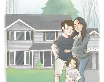 Custom Family Portrait Illustration (Cute soft style + bg) -  Personalized anniversary gift, custom portrait illustration, Wedding portrait