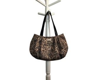 Cheetah Medium Hobo = timeless soft black tan weathered cheetah metallic bronze wash magnetic snap closure handmade bag by jenjohn