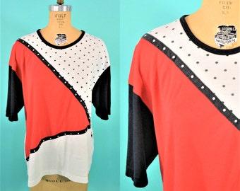 1990s tshirt | vintage red black white graphic tee | 90s polka dot tshirt XL