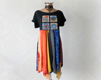 Black Boho Dress Hippie Festival Dress Women Recycled Clothing Short Sleeves Upcycle T-Shirt Gypsy Bohemian Layered Tunic Dress L 'SAVANNAH'
