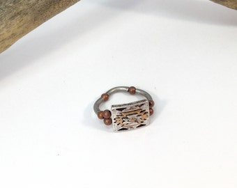 Copper and Silver Stretch Band Ring, Copper Ring, Copper Cocktail Ring, Elastic Band Ring, Rhinestone Ring, Stretchy Ring