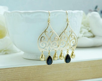 Gold Moroccan, Boho Filigree Jet Black Crackled Glass Drops Chandelier Earring Mothers Day Gift, Black and Gold, Bridesmaids Gift, Birthday