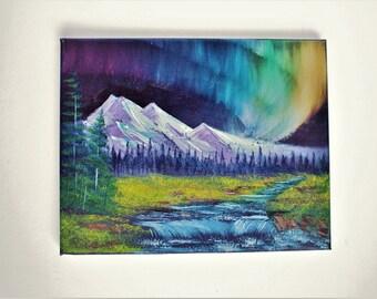 Bob Ross Style Oil Painting Purple Alaska Northern Lights Mountain Lake Small Waterfall 8 x 10