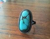 Natural Kingman Turquoise Sterling Silver Ring - size 7 - boho bohemian jewelry ponderbird