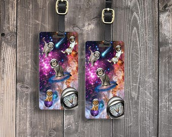 Personalized Luggage Tags Cats in Space Funny Cosmic Outerspace Crazy Tag Personalized Luggage Tags - Metal Tag Single Tag or Set Available