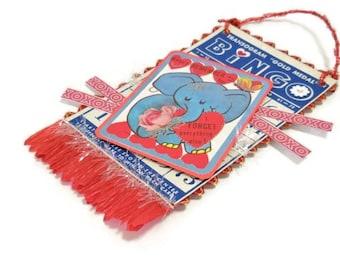 Handmade Vintage Bingo Valentine Card   Blue Elephant Bingo Valentine