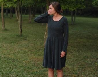 Women's Jersey Knit Long Sleeve Circle Dress Handmade in the USA - Made to Order - Edinburg