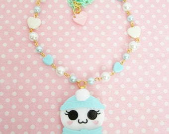 Winter Spirit of Cute Necklace in Mint with Pastel Hearts Ghost Kawaii Fairy Kei /Lolita/ Creepy Cute/ Pastel Goth
