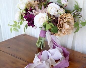 Plum and Lavender Silk Flower Bouquet | Purple and Beige | Loose Boho Wedding Bouquet | SG-1023