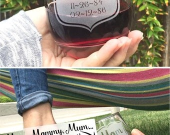 Gifts for Mom Glass, Personalized Gifts for Mom, Stemless, Mom Cup, Personalised Gift, Mom Wine Glass, Gift for Mom