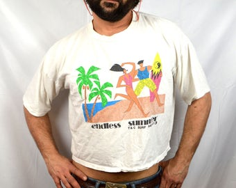 Vintage 1980s 80s Town and Country T & C Surf Beach Cropped Tee Shirt