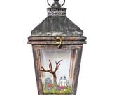 Gothic Art Diorama - Miniature Cemetery in Lantern - Dark Art with Skeleton - Creepy Gothic Art - Memento Mori Art