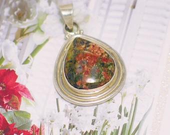 Silver gemstone pendant 4 necklace Sterling Silver natual unakite stone green dark peach matrix pear tear design charm womens fine jewelry