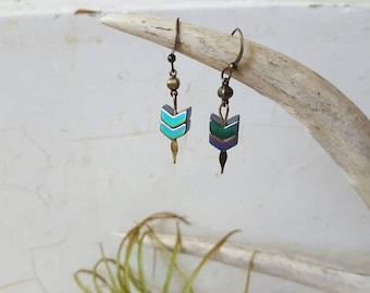 Chevron Earrings Hemitite Earrings Dagger Earrings Chevron Arrow Dainty Earrings Dynamo Gift for Girlfriend Gift for Women