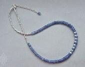 Tanzanite necklace, December birthstone, tanzanite silver necklace, cornflower blue necklace, Thai Karen silver necklace, blue necklace