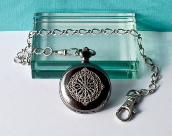 Pocket Watch Chain Handmade Steampunk Nouveau Black Silver Filigree Mandala 8 pointed Star Gothic Diamond Dial With Date Vintage Wedding