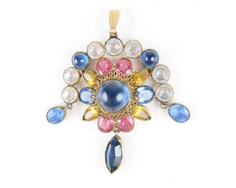 Vintage Pendant with Blue, Pink and Yellow Stones, Ornate Design
