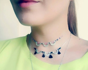 Simple Silver Choker Necklace, Dainty Beaded Tassel Necklace, Mini Tassel Choker Necklace, Semi Circle Necklace