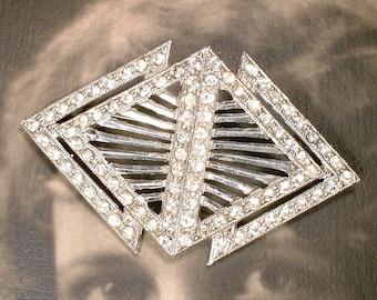 OoaK Bridal Hair Comb OR Vintage Wedding Dress Sash Brooch, 1930 Art Deco Silver Rhinestone Antique 1920 Hairpiece, Great Gatsby Headpiece