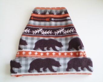 Fleece Bear Hat, Fleece Bear Cap, Bear Slouchy Hat, Bear Slouchy Cap, Fleece Bear Slouchy Hat, Fleece Bear Slouchy Cap