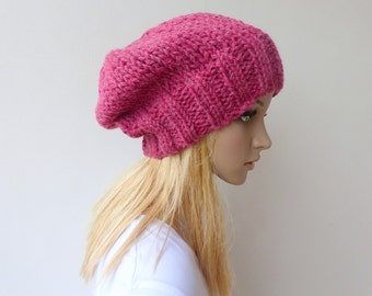 Raspberry Slouchy beanie Womens pink knit hat Chunky Knit slouch hat in wool alpaca winter hat