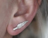 Feather Ear Climber Earring - Sterling Silver