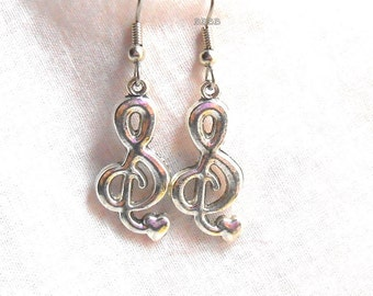 Treble Clef Earrings Antiqued Silver Design Earrings Love Heart Music Earrings Surgical Steel French Hooks BBBBGiftsCom