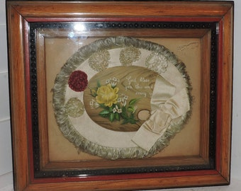 Antique VICTORIAN Shadowbox Oak Picture Frame w/ ROSE Silk Ribbon VALENTINE 8 x 10 fit c1900