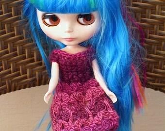 Blythe Lace Dress, Purple Blythe Doll Dress, Pink Crochet Lace Dress for Blythes, Cute Doll Dress, Purple Doll Outfit, Lace Dress in Pink