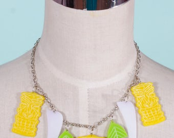 Tiki Bone yard lemon lime Necklace