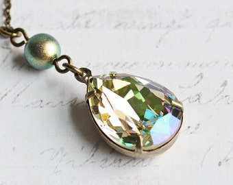 Light Green Crystal Rhinestone Teardrop Necklace on Antiqued Brass Chain (made with Swarovski Crystal Elements)