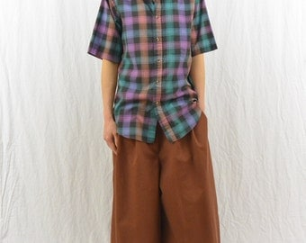 Vintage Wide Legged Gaucho Pants, Cropped Pants, Brown, Baggy, Mori Girl, Forest Girl, Quirky, High Waisted, Skater, Comfortable