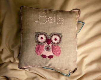 Personalised Cushion-Pink Owl , Baby Gift, Baby Room