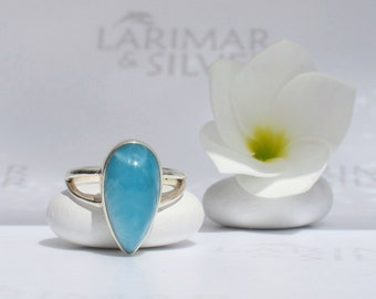 Larimar ring size 5.75 by Larimarandsilver, Sky Drop 2 - Caribbean blue Larimar pear, AAA, japan size 11, blue drop, handmade Larimar ring