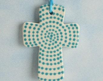 Teal Blue Dots Cross, Handmade Ceramic Cross, Confirmation Cross, Christian Ornament, Baptism Cross, Pottery Cross, Christening Favors