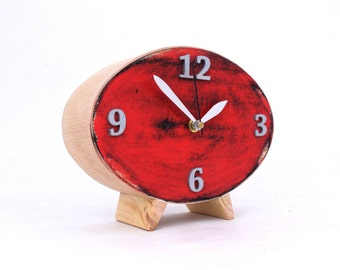 LABOR DAY SALE Table Clock, Wood Red Clock, Ellipse Desk clock, Red Black Silver Oval clock, Distressed Mantel clock,