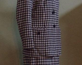 "Vintage 80's Sag Harbor Suit Black & Cream Houndstooth Skirt Suit Bust 40"" Waist 30 - 31"""