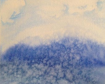ORIGINAL abstract minimalist watercolor painting, blue seascape, ocean beach art work, 8x8 inches