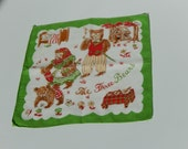 Childrens Handkerchief 3 Bears Goldilocks Three Bears Vintage Nursery Rhyme Childs Hankie