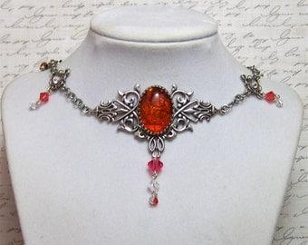 Victorian Necklace - Renaissance Jewelry - Medieval Jewelry - Tudor Jewelry, Victorian Jewelry, Elizabethan, Swarovski Crystal Necklace