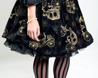 Gold Velvet skirt , Steampunk Lolita Skirt