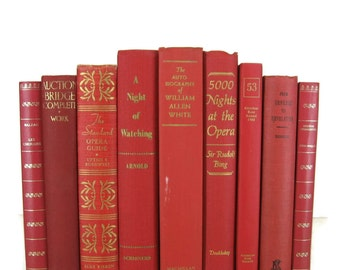 Red Books Decorative Vintage Books for Wedding Decor, Home Decor, and Photography Prop , Gift for Book Lovers
