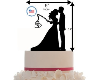 Custom Wedding Cake Topper Personalized Silhouette With  Initial - Keepsake - Couple Silhouette fishing - Groom and Bride - Topper