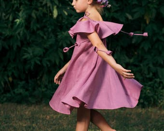 Girl's Lilac Summer Linen Sundress// Morning Glory Dress// Flower Girl Dress// Girls Couture Clothing// Flower Fairy Dress