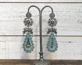 HOLD FOR RACHAEL Vintage Style Frida Kahlo Turquoise Bead Earrings | 925 Silver Mexico | Silver Filigree Hooks