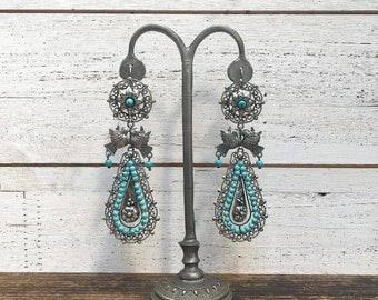 Vintage Style Frida Kahlo Turquoise Bead Earrings | 925 Silver Mexico | Silver Filigree Hooks | Frida Kahlo, Mexican, Rockabilly, VLV