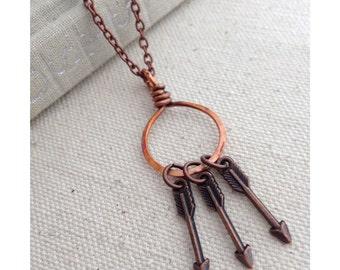 Mother's Arrow Necklace Psalm 127 Vintage Copper