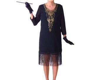 Art Nouveau flapper Dress, Great Gatsby Dress, Flapper Costume, 1920s Dress, 20s Dress, Roaring 20s Retro Black Fringe Dress Chiffon,Gold
