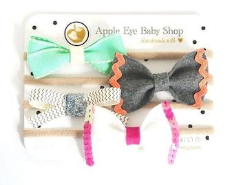 Baby Headband Set, Newborn Headband, Infant Headband Toddler, Baby Girl Headband, Spring Summer Headband, Nylon Headbands, Bow Felt Ribbon